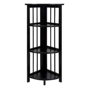 38.75 in. H Black New Finish Solid Wood 4-Shelf Corner Etagere Bookcase