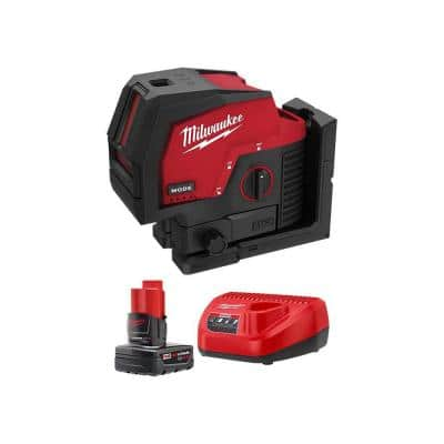 M12 12-Volt Lithium-Ion Cordless Green 125 ft. Cross Line and Plumb Points Laser Level with 4.0 Ah Battery and Charger
