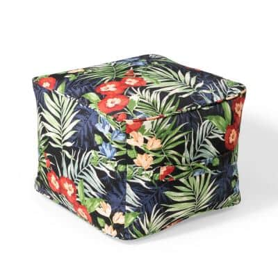 19 in. x 19 in. x 14 in. Black Floral Outdoor Pouf
