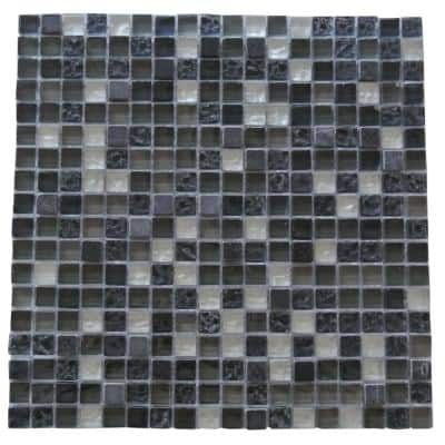 Quartz Navy Blue & Black Square Mosaic 12 in. x 12 in. Glass & Stone Wall & Floor Tile (1 Sq. ft.)