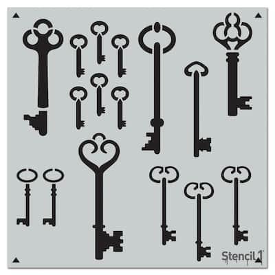 Skeleton Keys Repeat Pattern Stencil