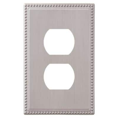 Perlina 1 Gang Duplex Metal Wall Plate - Brushed Nickel
