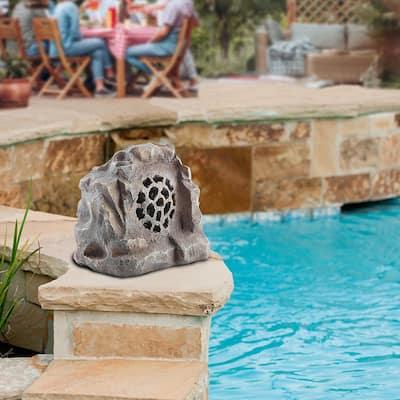 Waterproof Bluetooth Solar-Powered Outdoor Wireless Rock Speaker, Gray
