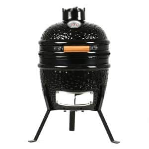 13 in. Charcoal Grill in Black with Built-In Thermometer