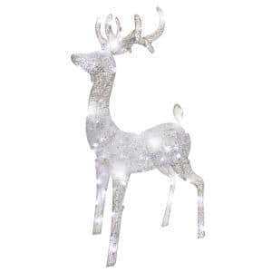 Northlight 41 In Pre Lit Commercial Grade Acrylic Reindeer Christmas Display Decoration Polar White Led Lights 32904694 The Home Depot