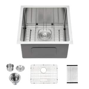 Stainless Steel 16-Gauge 17 in. Single Bowl Undermount Kitchen Sink with Bottom Grids