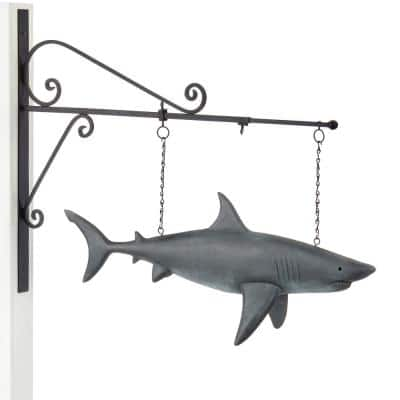 Pure Copper Hand Gray Shark Hanging Wall Sculpture Nautical Home Decor Weathervane