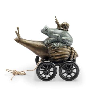 Pondside Coupe Frog and Snail Garden Statue