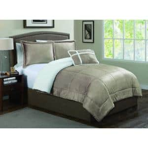 3-Piece Taupe Twin Micro Sherpa Comforter Set