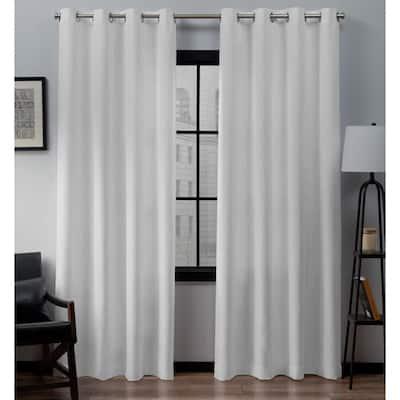 Winter White Linen Grommet Room Darkening Curtain - 54 in. W x 108 in. L (Set of 2)