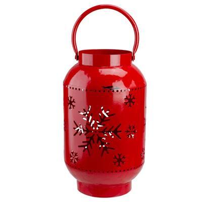 8.25 Red Snowflake Cutout Christmas Candle Holder - Lantern- Metal