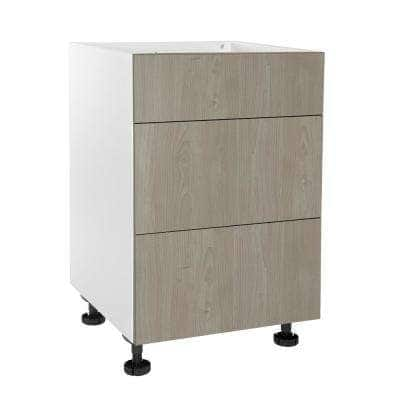Ready to Assemble Threespine 24 in. x 34.5 in. x 24 in. Stock Drawer Base Cabinet in Grey Nordic