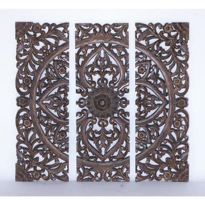 "36 in. x 12 in. ""Carved Botanical Medallion"" Framed Wooden Wall Art (Set of 3)"