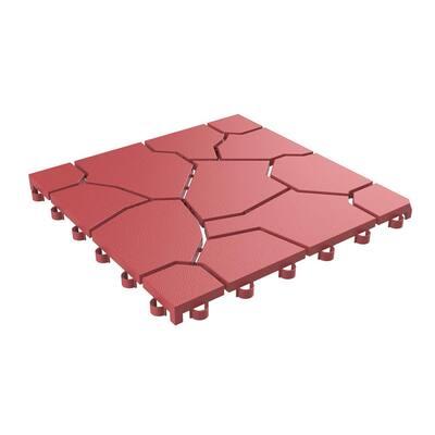 11.5 in. x 11.5 in. Outdoor Interlocking Brick Look Polypropylene Patio and Deck Tile Flooring in Brick Red (Set of 6)