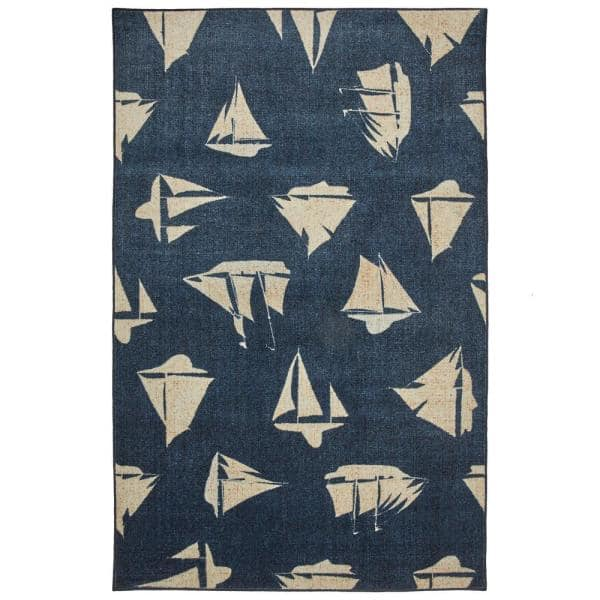 Mohawk Home Blue Boats Navy 5 Ft X 8 Ft Indoor Area Rug 047694 The Home Depot
