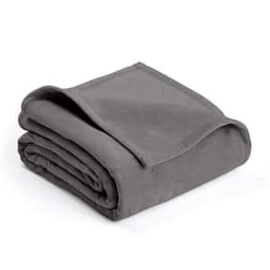 Plush Tornado Gray Polyester Twin Blanket