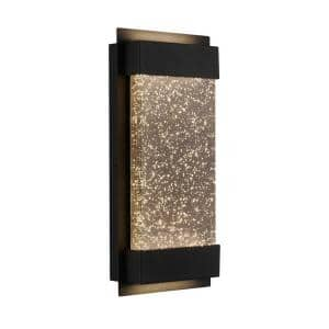 Medium Essence Glowbox Black Outdoor Integrated LED Wall Mount Lantern with Bubble Glass