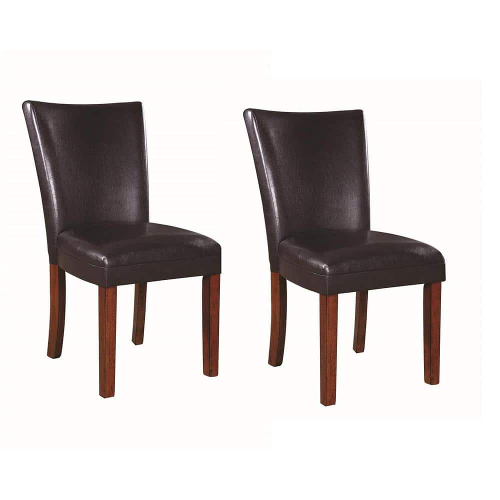 Coaster Nessa Collection Brown Parson Chair Set Of 2 103053 The Home Depot
