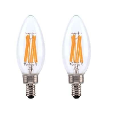 75-Watt Equivalent B11 Candelabra High Brightness Exceptional Light Dimmable E12 LED Light Bulb Soft White (2-Pack)