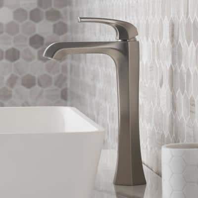 Esta Single Hole Single-Handle Vessel Bathroom Faucet with Pop-Up Drain in Spot Free Stainless Steel