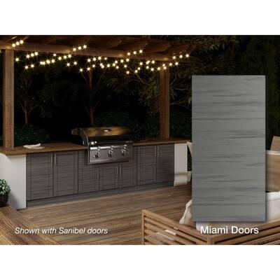 Miami Dark Ash 20-Piece 121.25 in. x 34.5 in. x 28.5 in. Outdoor Kitchen Cabinet Island Set