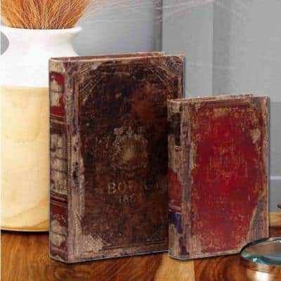 Antique Distressed Multi-color Wooden Book Boxes