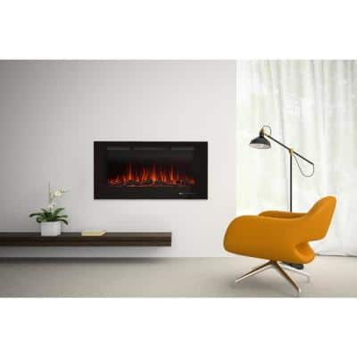 42.01 in. Recessed Wall Mounted Electric Fireplace in Black