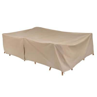 Basics Water Resistant Rect/Oval Outdoor Patio Table and Chair Cover, 115 in. L x 76 in. W x 30 in. H, Beige
