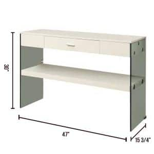 Raya 47 in. White/Clear Standard Rectangle Wood Console Table with Drawers