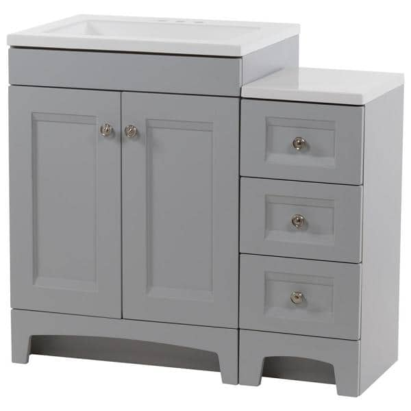 Glacier Bay Delridge Bath Suite With 24 In Vanity Top And Drawer Base In Pearl Gray Dr36p2v3 Pg The Home Depot