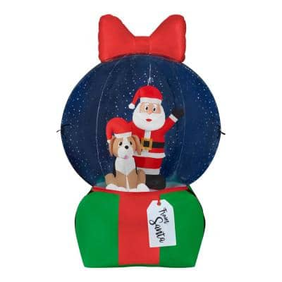 6.5 ft Pre-Lit LED Airblown Santa Snow Globe Present with Projection Snow Flurry Christmas Inflatable
