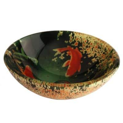 Koi and Lilies Glass Vessel Sink