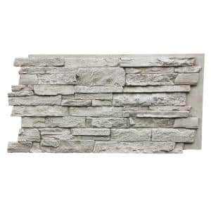 Canyon's Edge Faux Stack Stone 48-3/4 in. x 24-3/4 in. Biscotti Tan Class A Fire Rated Urethane Siding Panel