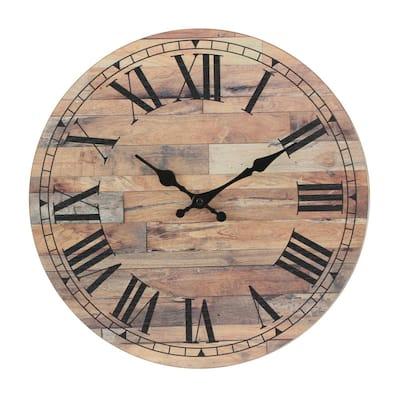 Natural Wood Roman Numeral Wall Clock