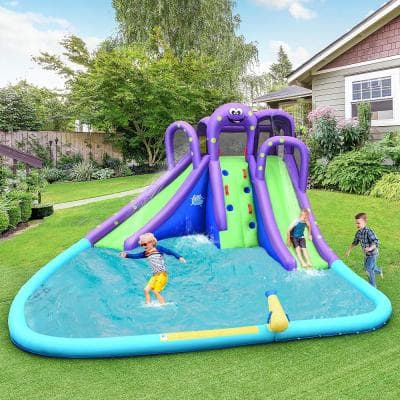 Multi-Color Inflatable Water Park Octopus Bounce House 2-Slides Climbing Wall without Blower
