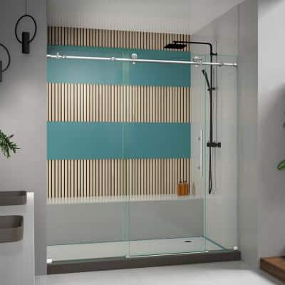Enigma-X 68 in. to 72 in. x 76 in. Frameless Sliding Shower Door in Brushed Stainless Steel