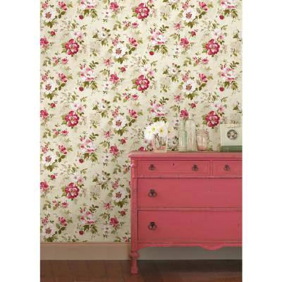 Amalia Magenta Floral Garden Wallpaper