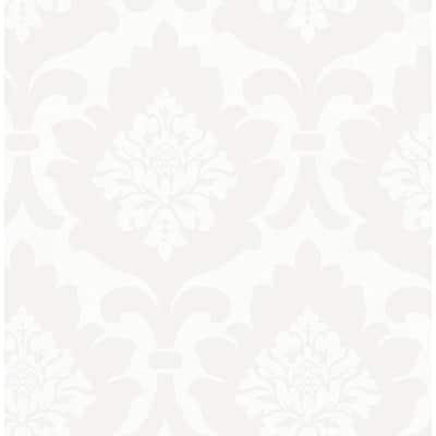 Osbourne White Damask Wallpaper