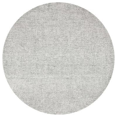 London Collection Gray/Ivory 8 ft. Round Hand-Tufted Solid Area Rug