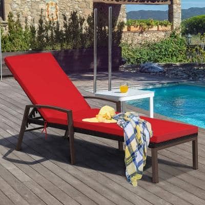 Adjustable Rattan Chaise Recliner Lounge Chair Patio Outdoor with Red Cushion