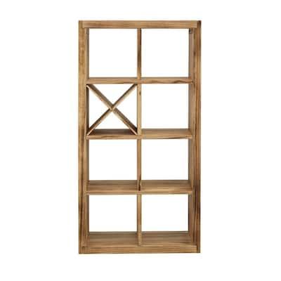 Boardwalk Brown Solid Wood 60 in. 7 Shelf Bookcase