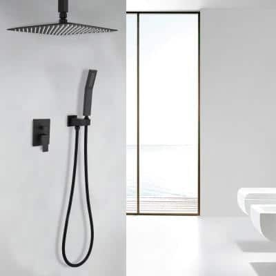 1-Spray Patterns with 2.5 GPM 16 in. Ceiling Mount Dual Shower Heads in Matte Black - Valve Included