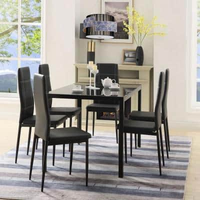 Black Kitchen Dining Set Glass Table Top with 6-Leather Chairs (Set of 7)