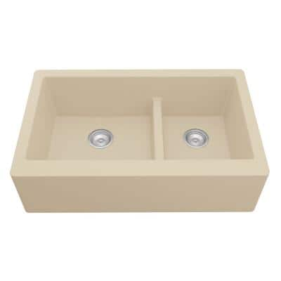 Farmhouse/Apron-Front Quartz Composite 34 in. Double Offset Bowl Kitchen Sink in Bisque