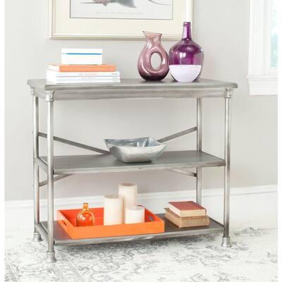 32.5 in. Dark Silver Metal 2-shelf Etagere Bookcase