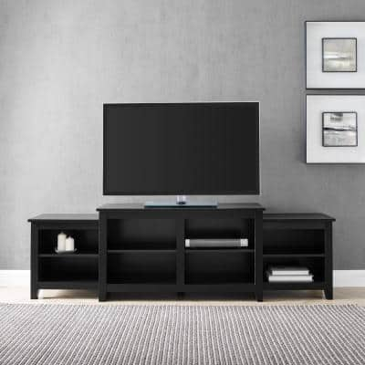80 in. Solid Black Wood Transitional TV Stand Fits TVs up to 80 in. with Open Storage