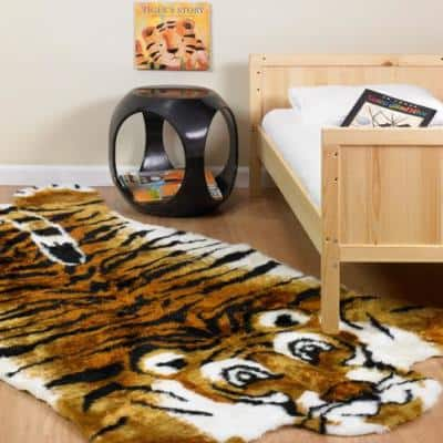 5 ft. x 7 ft. Tiger Kids Playmat Faux Fur Area Rug