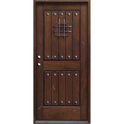 36 in. x 80 in. Rustic Mahogany Type Right-Hand Inswing Stained Distressed Speakeasy Solid Wood Prehung Front Door
