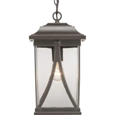 Abbott Collection 1-Light Antique Bronze Clear Seeded Glass Craftsman Outdoor Hanging Lantern Light