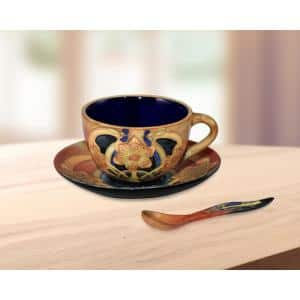 Pasque Flower 2.75 in. Multi-Colored Tea Pot-Saucer with Hand Painted Porcelain Style